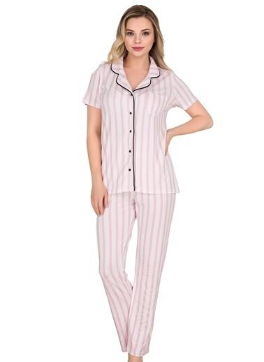 Sensu Kadın Pijama Takımı Kısa Kollu Düğmeli  Pj3002 Renkli